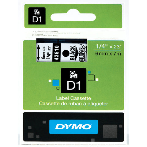 "Dymo 1/4"" Black on Clear D1 Tape - 43610"