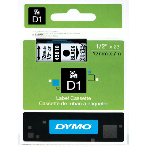 "Dymo 1/2"" Black on Clear D1 Tape - 45010"