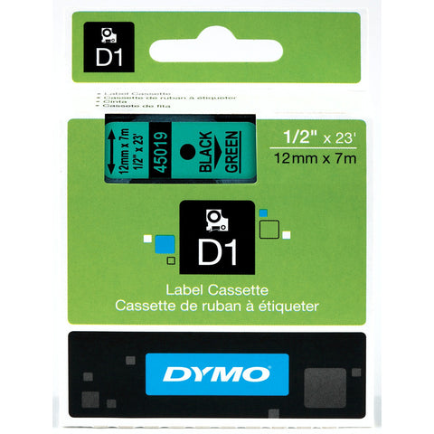 "Dymo 1/2"" Black on Green D1 Tape - 45019"
