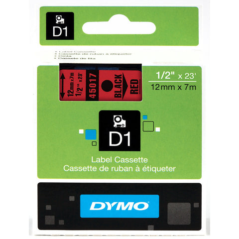 "Dymo 1/2"" Black on Red D1 Tape - 45017"