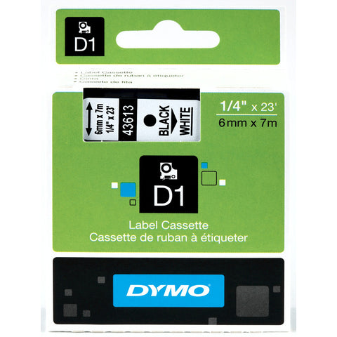 "Dymo 1/4"" Black on White D1 Tape - 43613"