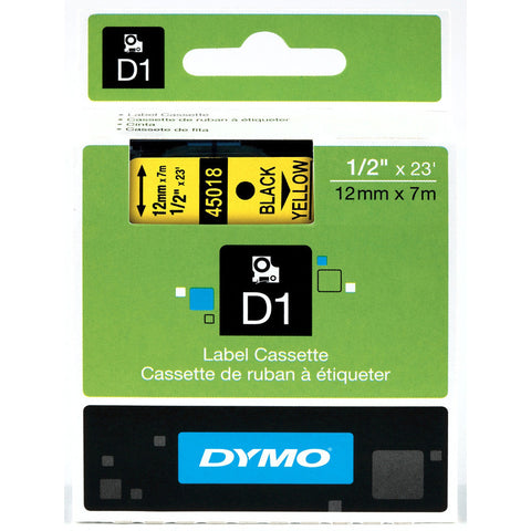 "Dymo 1/2"" Black on Yellow D1 Tape - 45018"