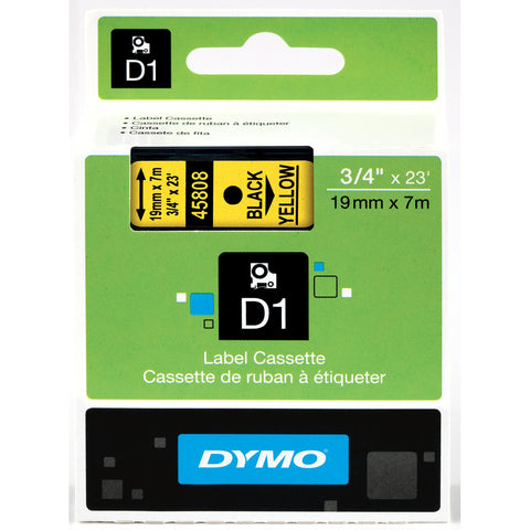 "Dymo 3/4"" Black on Yellow D1 Tape - 45808"