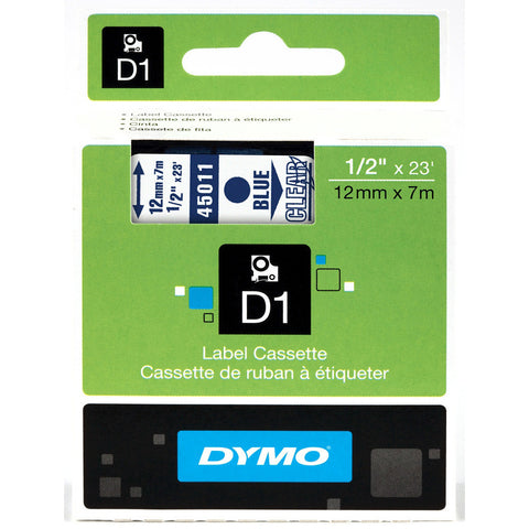 "Dymo 1/2"" Blue on Clear D1 Tape - 45011"