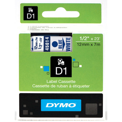 "Dymo 1/2"" Blue on White D1 Tape - 45014"