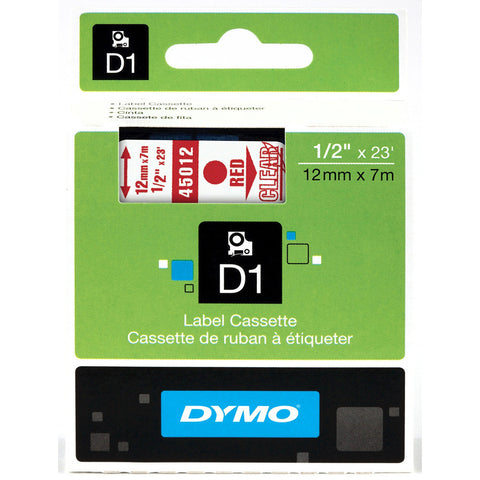 "Dymo 1/2"" Red on Clear D1 Tape - 45012"