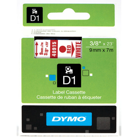 "Dymo 3/8"" Red on White D1 Tape - 40915"