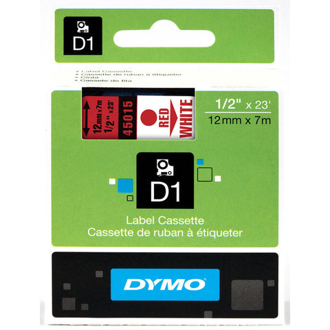"Dymo 1/2"" Red on White D1 Tape - 45015"