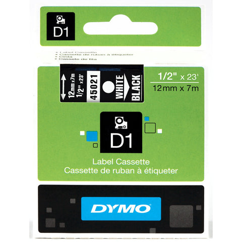 "Dymo 1/2"" White on Black D1 Tape - 45021"
