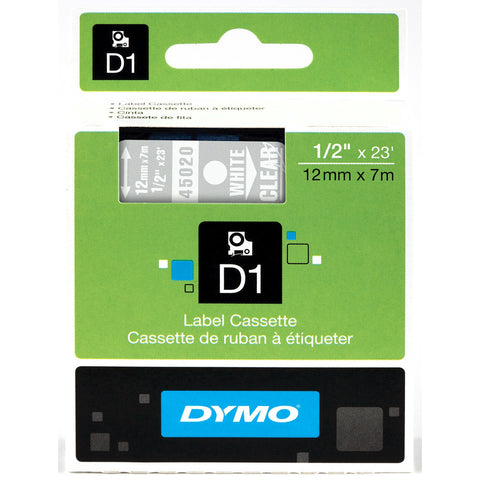 "Dymo 1/2"" White on Clear D1 Tape - 45020"