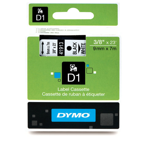 "Dymo 3/8"" Black on White D1 Tape - 41913"