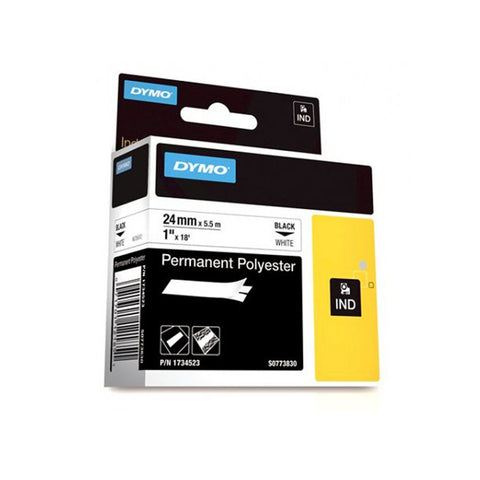 "Dymo RhinoPro 1"" Black on White Permanent Polyester Tape - 1734523"