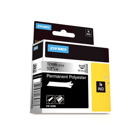 "Dymo RhinoPro 1/2"" Black on Metallic Silver Permanent Polyester Tape - 18486"