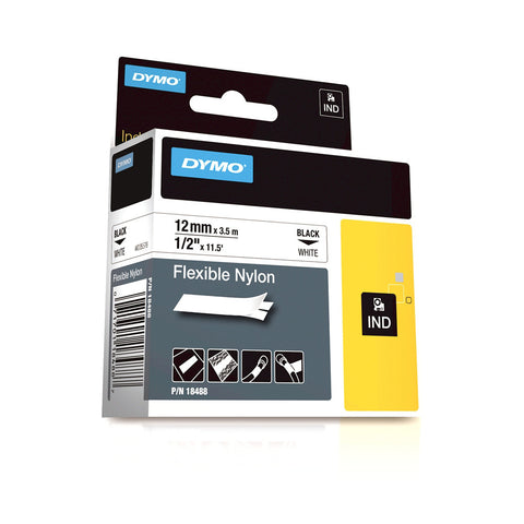 "Dymo RhinoPro 1/2"" Black on White Flexible Nylon Tape - 18488"