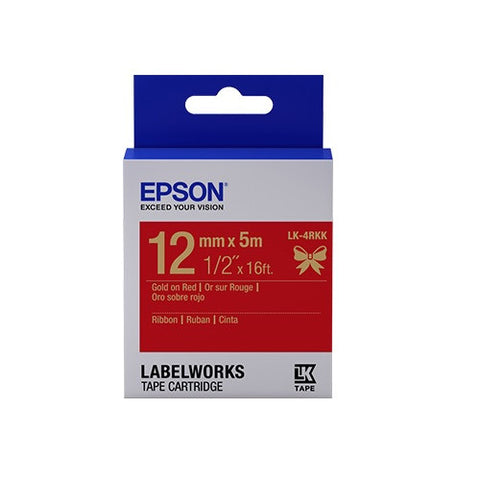 "Epson LabelWorks™ 1/2"" Gold on Red Ribbon LK-4RKK"