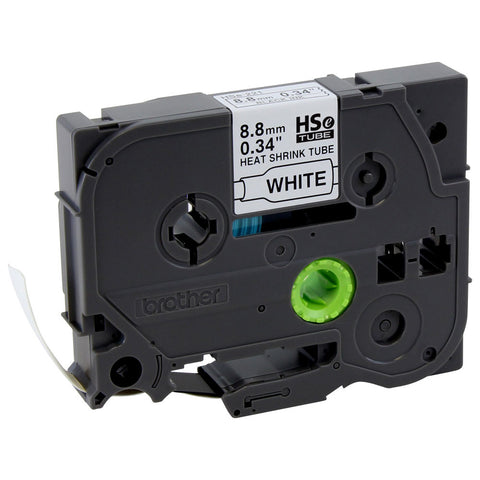 Brother 8.8mm Black on White Shrink Tube - HSe221