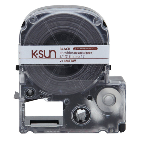 "K-Sun 3/4"" Black on White ""Magnet"" Tape - 218MTBW"