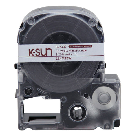 "K-Sun 1"" Black on White ""Magnet"" Tape - 224MTBW"