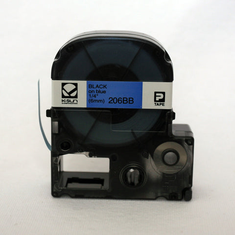 "K-Sun 1/4"" Black on Blue Tape - 206BB"