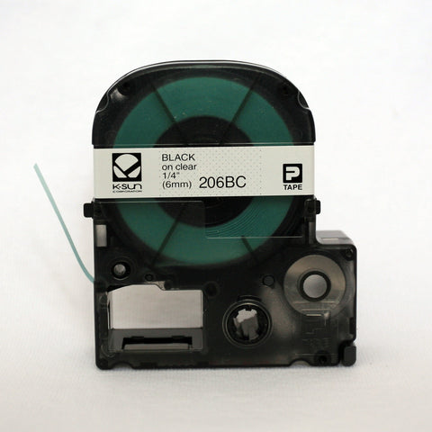 "K-Sun 1/4"" Black on Clear Tape - 206BC"