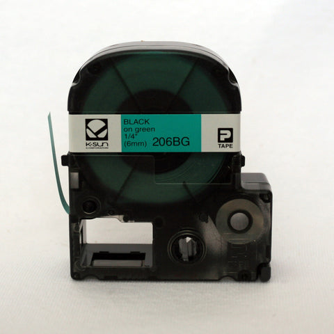 "K-Sun 1/4"" Black on Green Tape - 206BG"