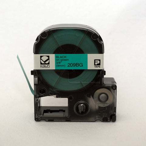 "K-Sun 3/8"" Black on Green Tape - 209BG"