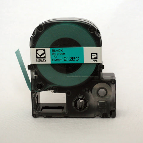 "K-Sun 1/2"" Black on Green Tape - 212BG"