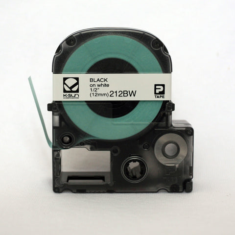 "K-Sun 1/2"" Black on White Tape - 212BW"