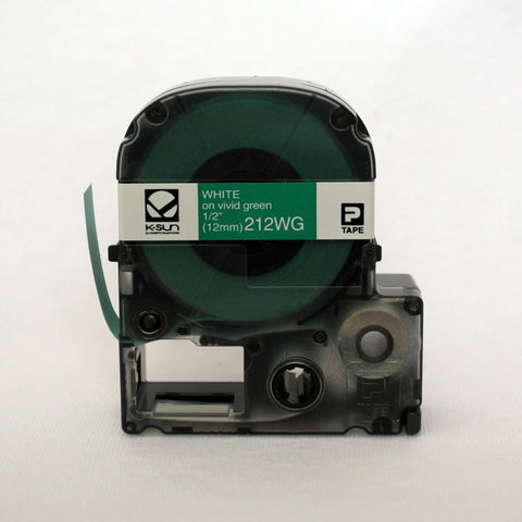 "K-Sun 1/2"" White on Green Tape - 212WG"