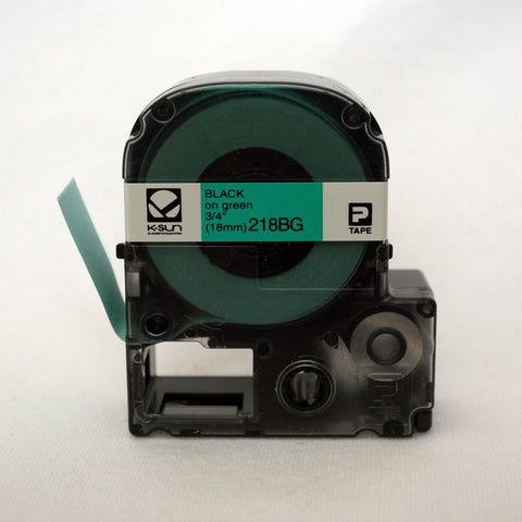 "K-Sun 3/4"" Black on Green Tape - 218BG"