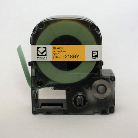 "K-Sun 3/4"" Black on Yellow Tape - 218BY"