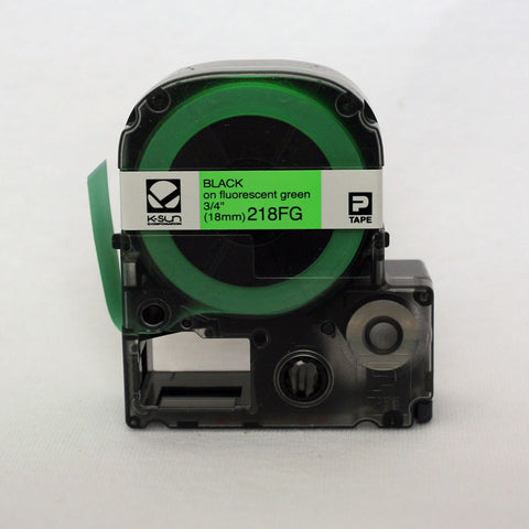 "K-Sun 3/4"" Black on Fluorescent Green Tape - 218FG"