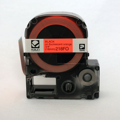 "K-Sun 3/4"" Black on Fluorescent Orange Tape - 218FO"