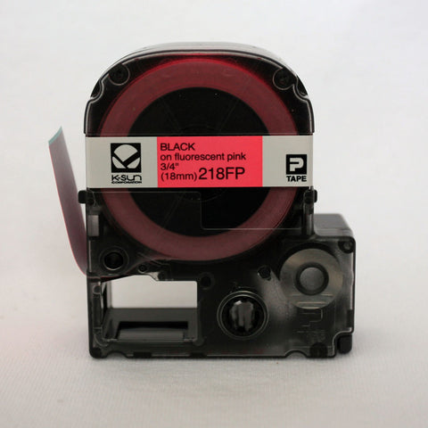 "K-Sun 3/4"" Black on Fluorescent Pink Tape - 218FP"