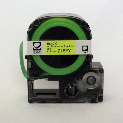"K-Sun 3/4"" Black on Fluorescent Yellow Tape - 218FY"