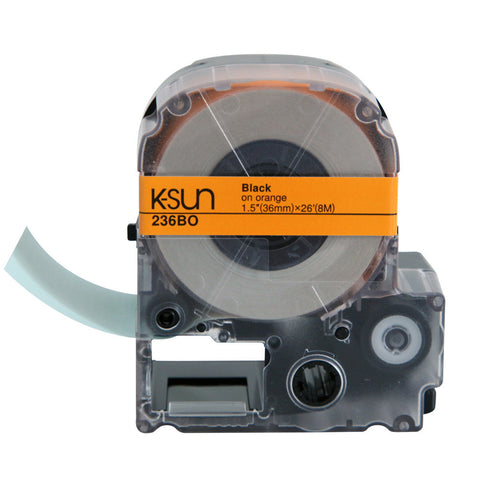 "K-Sun 1 1/2"" Black on Orange Tape - 236BO"