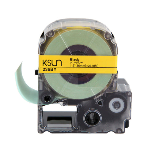 "K-Sun 1 1/2"" Black on Yellow Tape - 236BY"