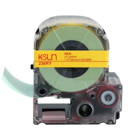 "K-Sun 1 1/2"" Red on Yellow Tape - 236RY"