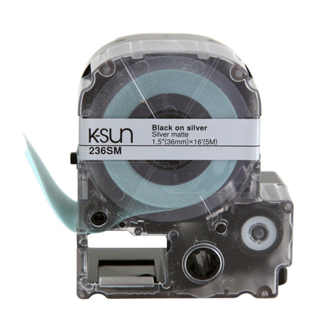 "K-Sun 1 1/2"" Black on Silver Matte Tape - 236SM"