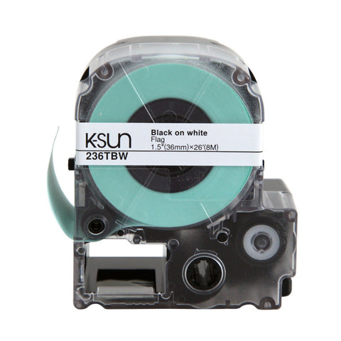 "K-Sun 1 1/2"" Black on White ""Flag"" Label Tape - 236TBW"