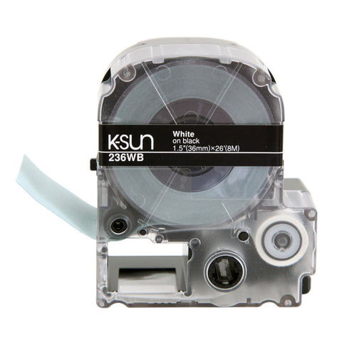"K-Sun 1 1/2"" White on Black Tape - 236WB"