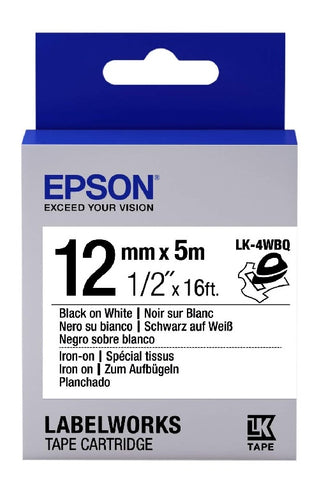 "Epson LabelWorks™ 1/2"" Black on White Iron-On-Fabric LK-4WBQ"