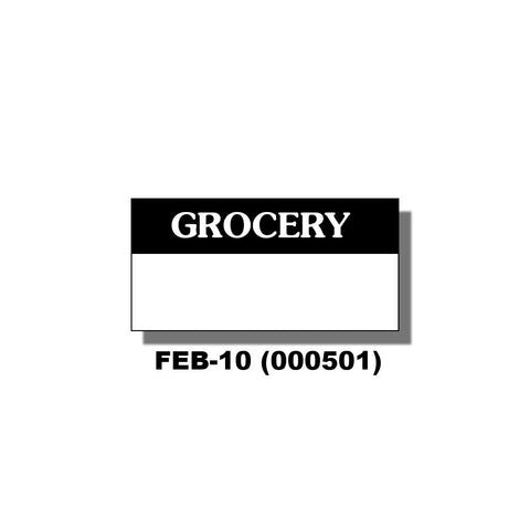 "Monarch 1105, 1107 & 1110 White/Black ""Grocery"" Labels (16 rolls) - 000501"