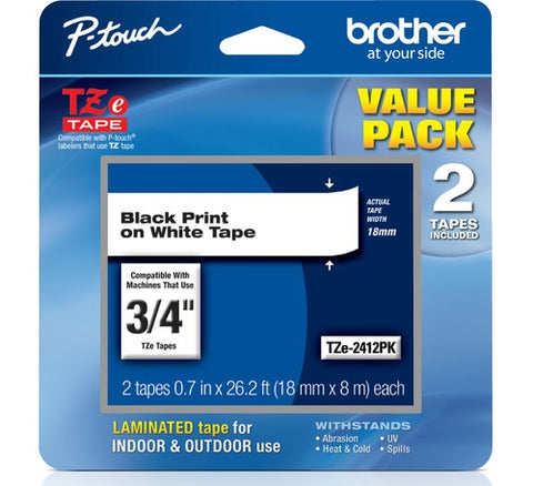 "Brother 3/4"" Black on White Tape (2-Pack) - TZe2412PK"