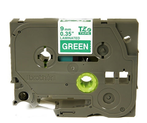 "Brother 3/8"" (9mm) White on Green Tape - TZe725"