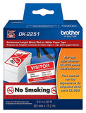 Brother Continuous Length Black/Red on White Paper Tape  - DK2251