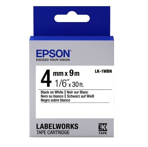 "Epson LabelWorks™ 1/6"" Black on White Tape LK-1WBN"