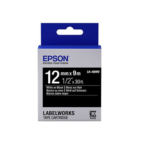 Epson LK-4BWV White on Black 1/2""