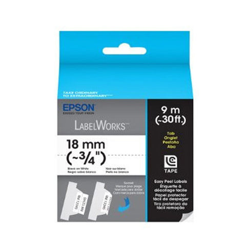 "Epson LabelWorks™ 3/4"" Black on White Strong Adhesive Tape LC-5WBW9"