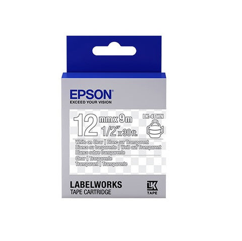 "Epson LK-4TWN 1/2"" White on Clear Tape"